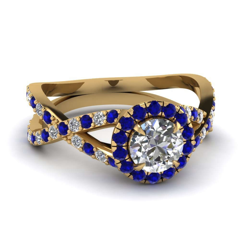 Infinity Sapphire Halo Round Diamond Engagement Ring In 14K Yellow Gold