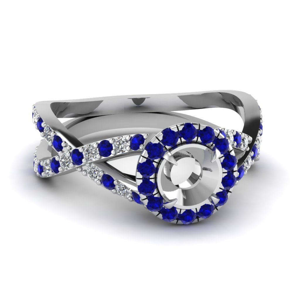 Infinity Sapphire Semi Mount Engagement Ring In 14K White Gold
