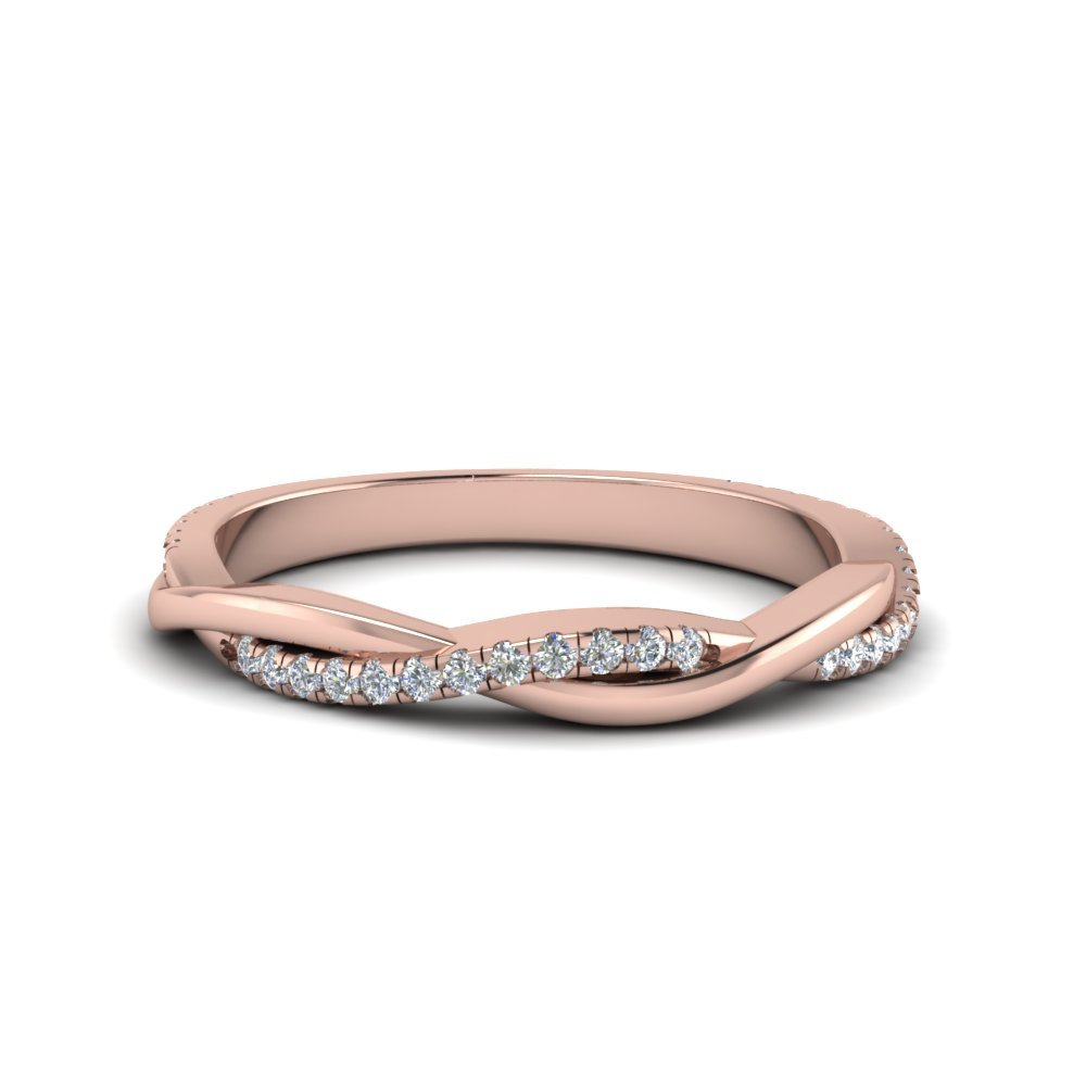 Infinity Twist Diamond Band In 18K Rose Gold