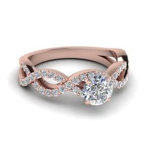 Infinity Twist Diamond Engagement Ring In 18K Rose Gold