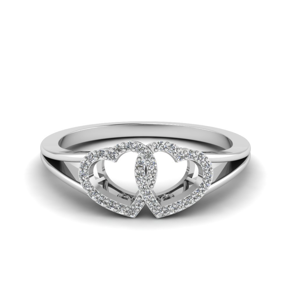 Interlocked Heart Diamond Split Ring