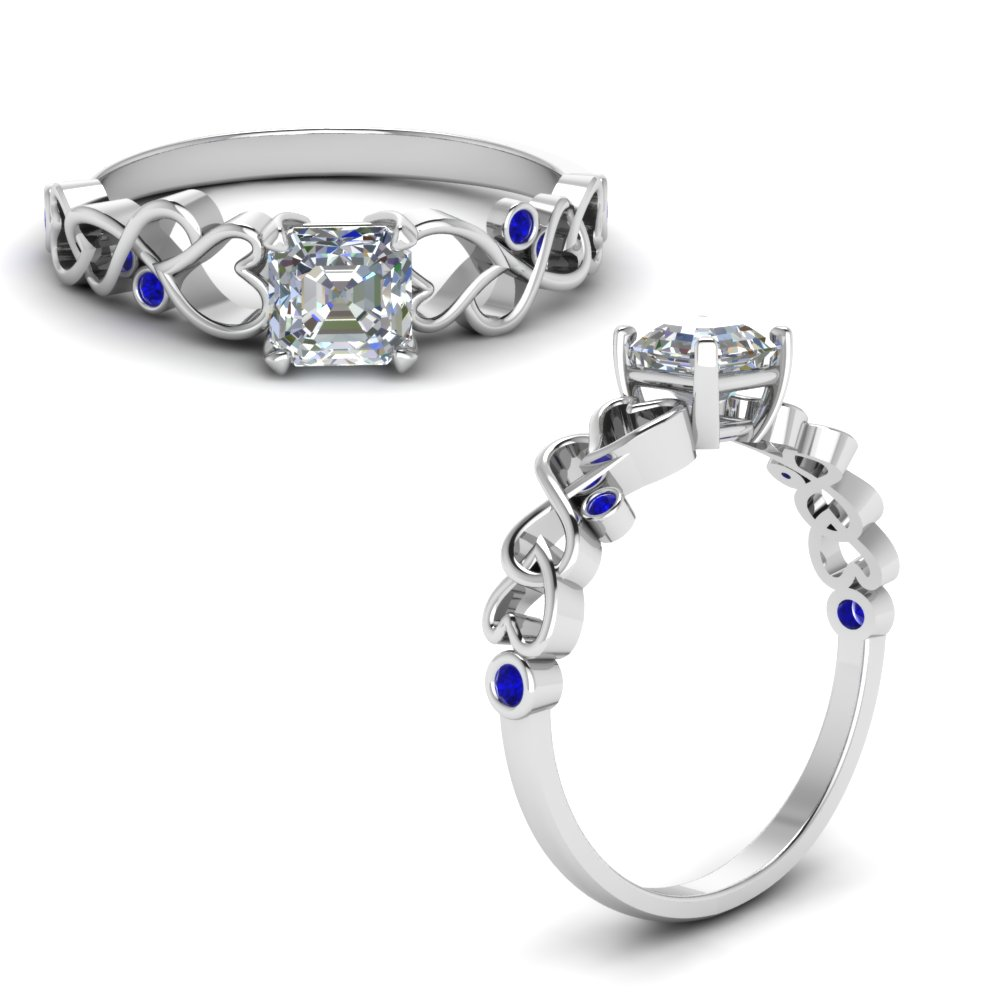 Intertwined Filigree Asscher Cut Engagement Ring With Sapphire In 14K White Gold