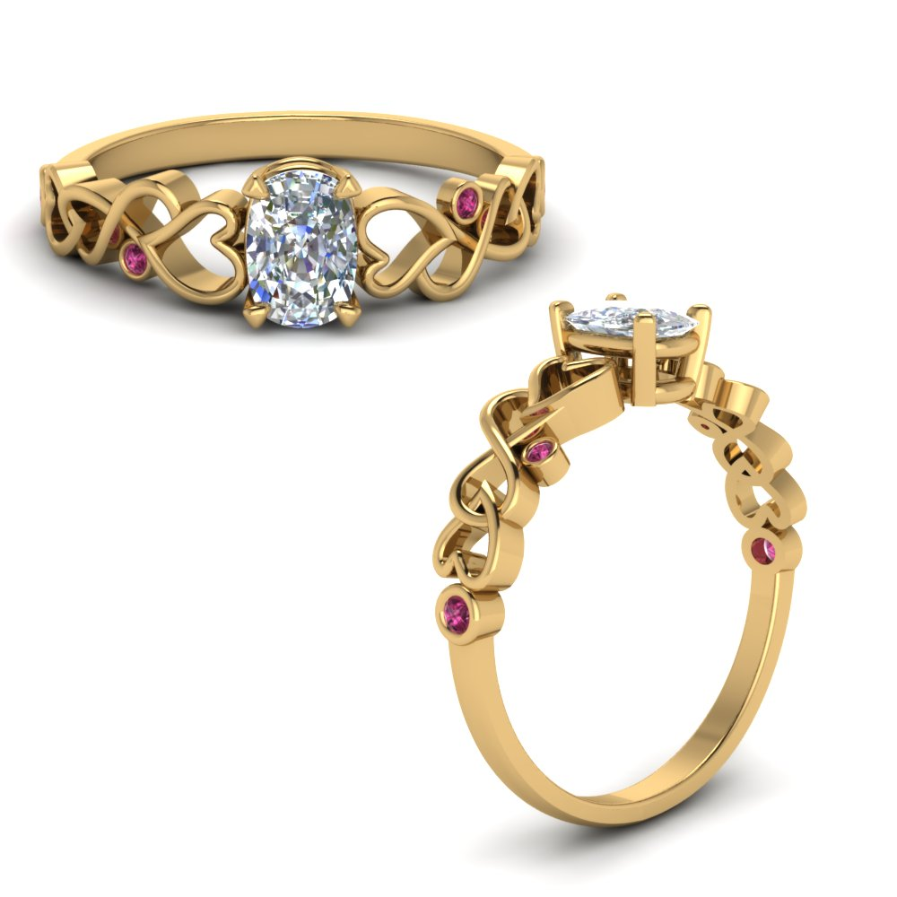 Intertwined Filigree Cushion Cut Engagement Ring With Pink Sapphire In 14K Yellow Gold