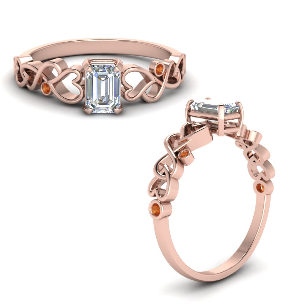 Intertwined Filigree Emerald Cut Engagement Ring With Orange Sapphire In 14K Rose Gold