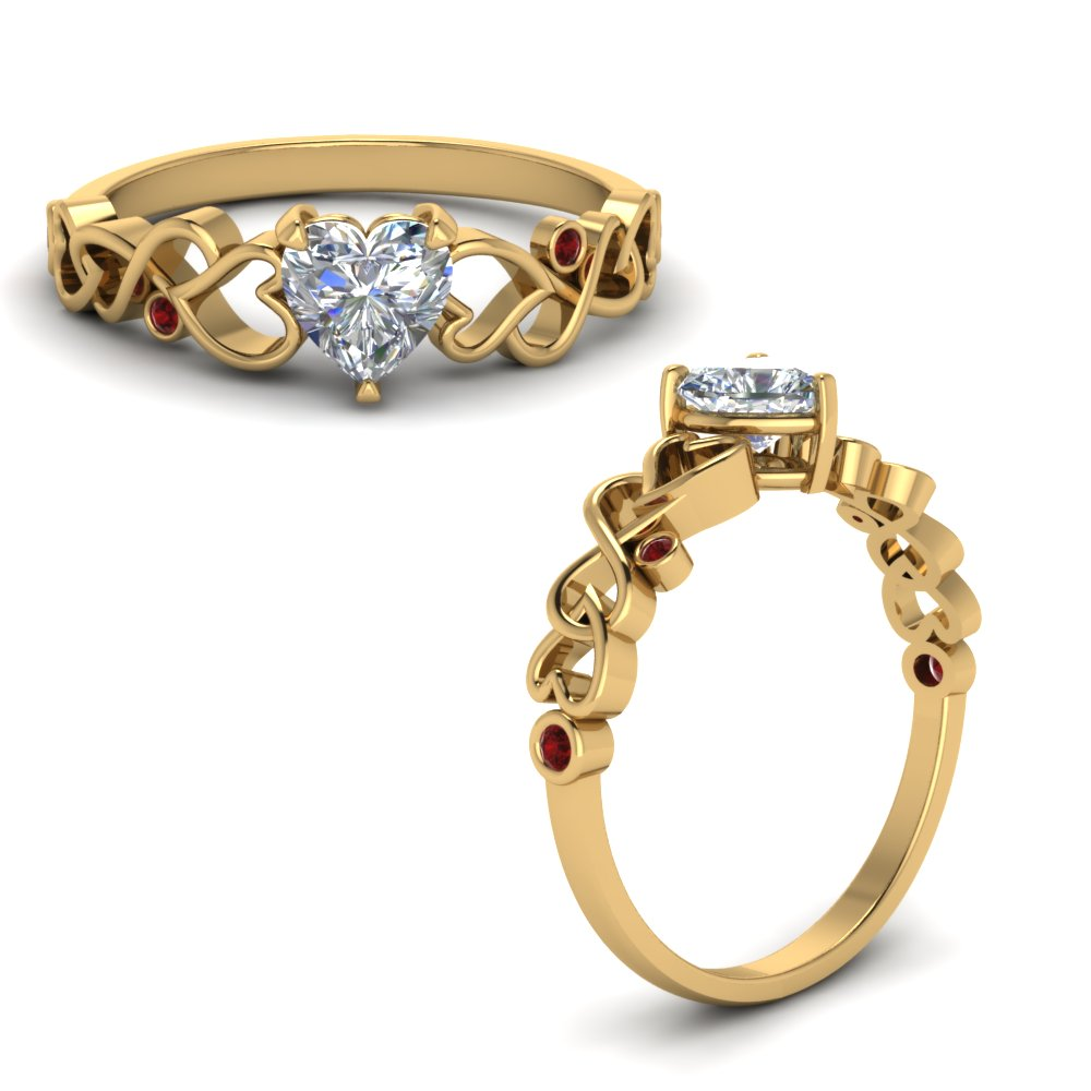 Intertwined Filigree Heart Shaped Engagement Ring With Ruby In 18K Yellow Gold