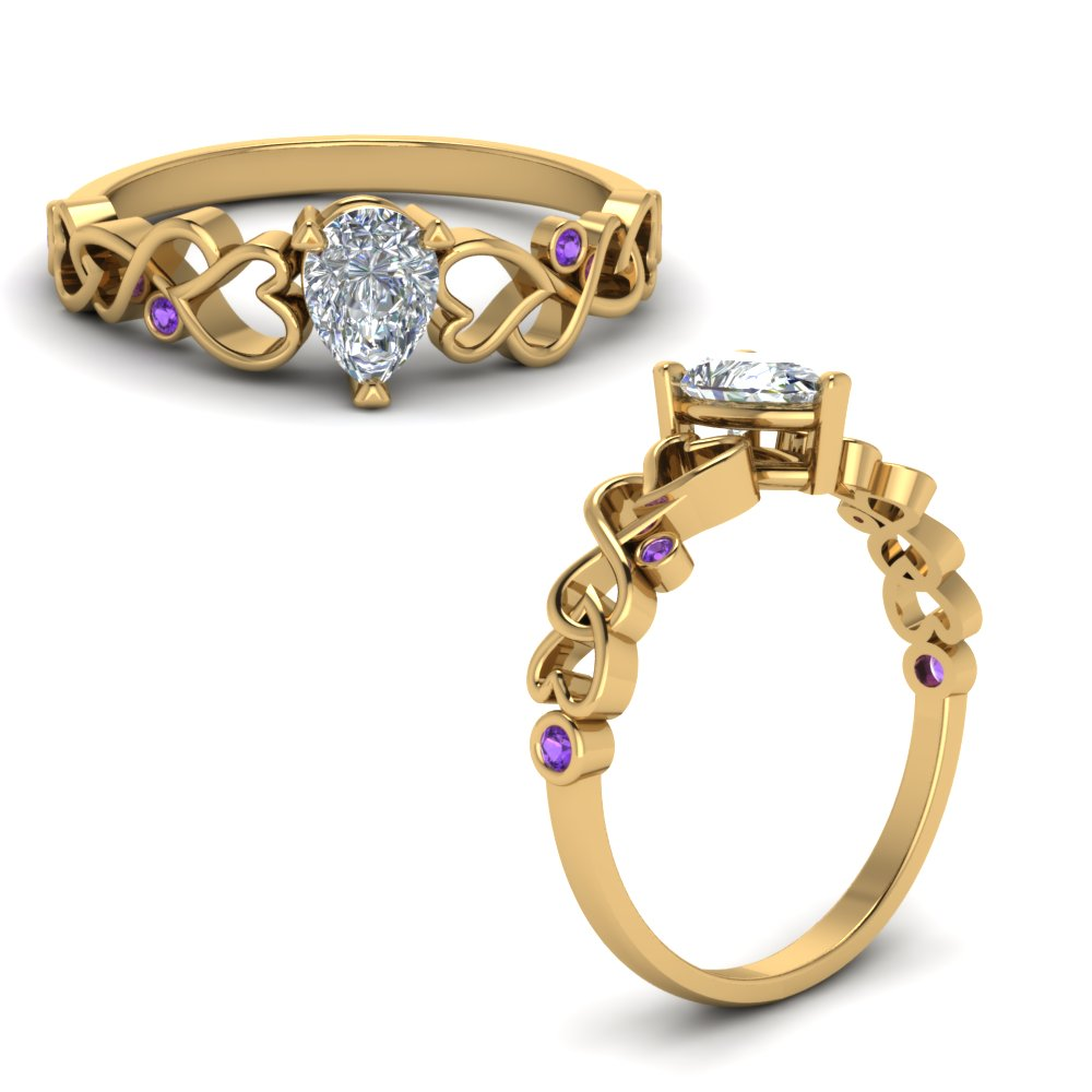 Intertwined Filigree Pear Shaped Engagement Ring With Purple Topaz In 14K Yellow Gold