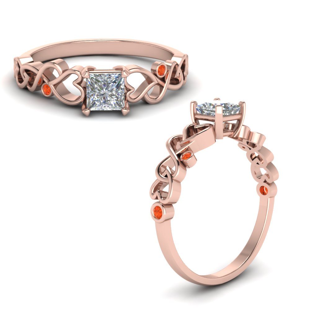 Intertwined Filigree Princess Cut Engagement Ring With Orange Topaz In 14K Rose Gold