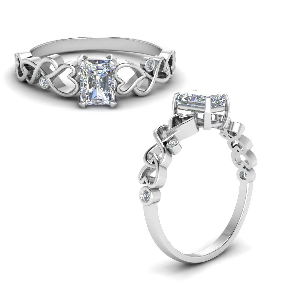 Intertwined Filigree Diamond Radiant Cut Engagement Ring In 14K White Gold