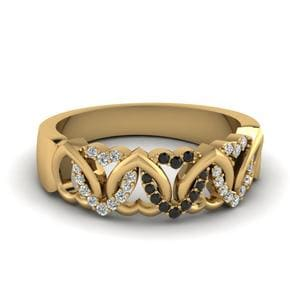 Black Diamond Wedding Band For Her