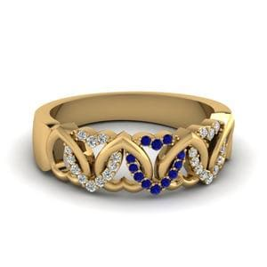 Sapphire Heart Design Wedding Band