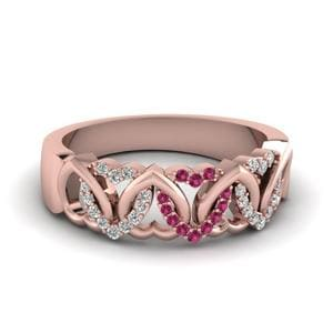 Pink Sapphire Twisted Wedding Band