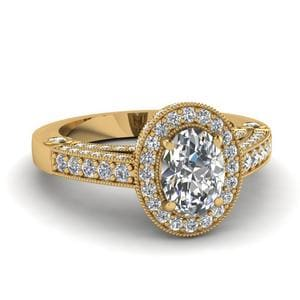 Intricate Oval Halo Antique Ring