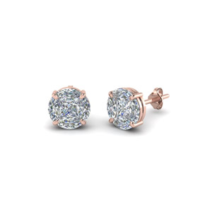 Invisible Set Round Diamond Stud Earring