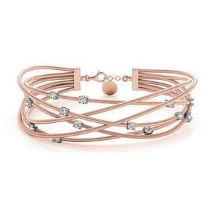 Italian Cuff Diamond Bracelet In 14K Rose Gold