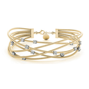 14K Yellow Gold Italian Cuff Diamond Bracelet