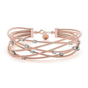 Italian Cuff Diamond Bracelet In 18K Rose Gold