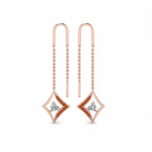 Kite Design Heart Threader Earring