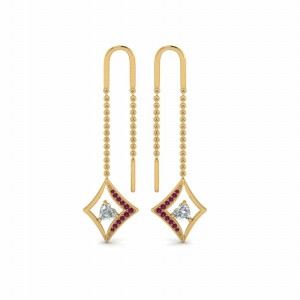 14K Drop Earring With Pink Sapphire