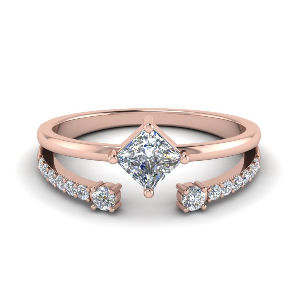 Kite Princess Cut Diamond Ring With Open Band In 14K Rose Gold