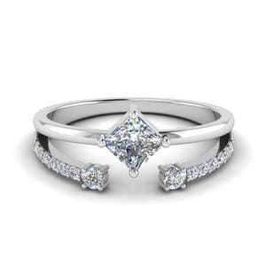 Kite Princess Cut Diamond Ring With Open Band In 14K White Gold