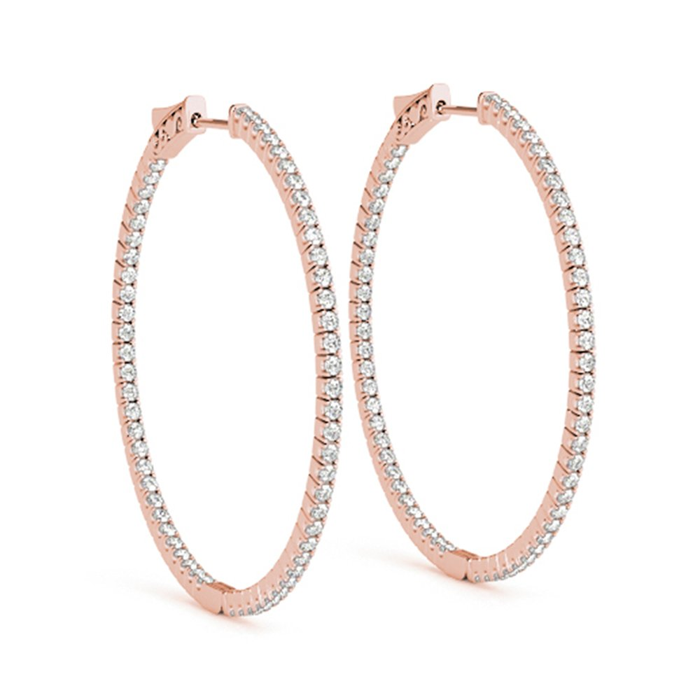 Large Hoop Earring Diamond Inside Out