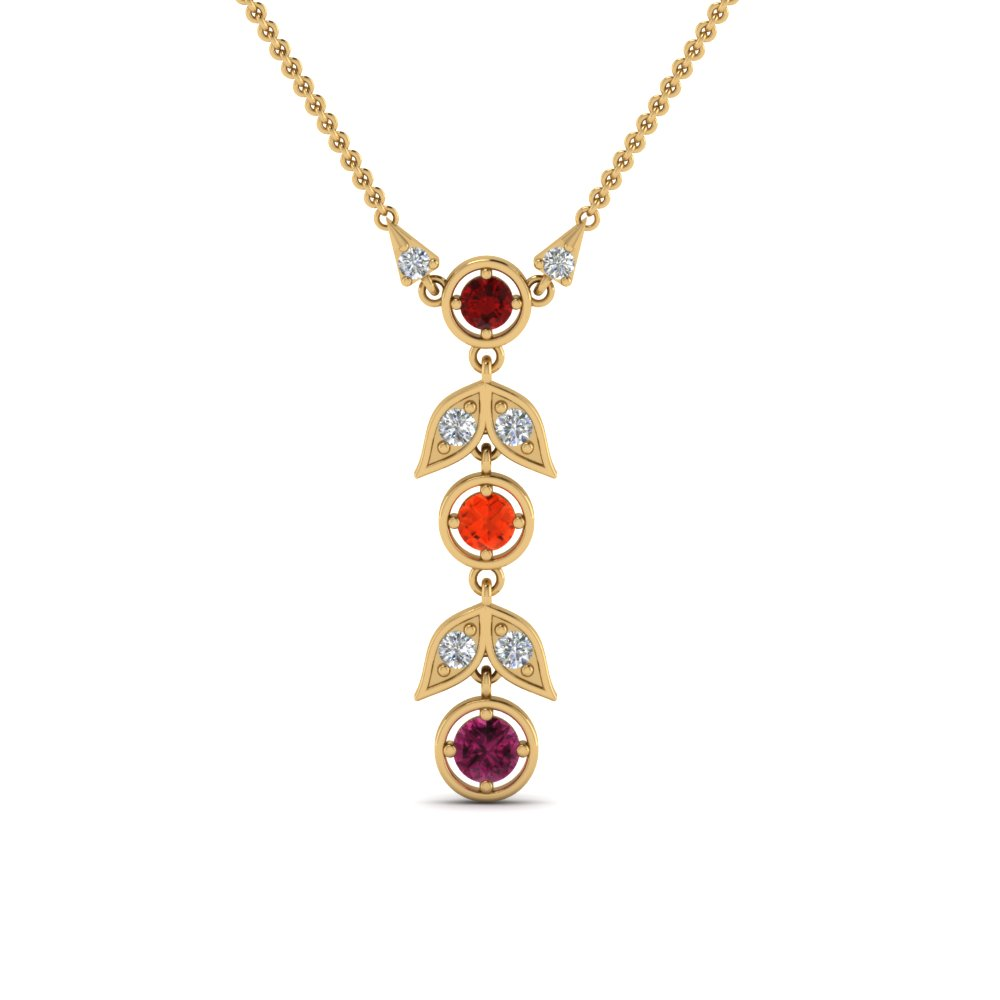 Leaf Birthstone Mothers Pendant In 14K Yellow Gold