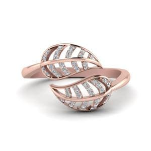 Leaf Diamond Bypass Ring In 14K Rose Gold