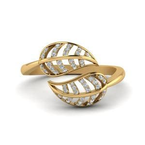 Leaf Diamond Bypass Ring In 14K Yellow Gold
