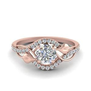 Leaf Diamond Engagement Ring In 14K Rose Gold