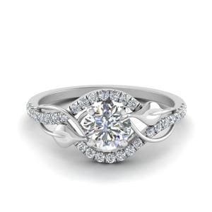 Leaf Diamond Engagement Ring In 18K White Gold