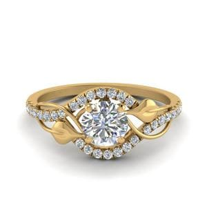 Leaf Diamond Engagement Ring In 14K Yellow Gold