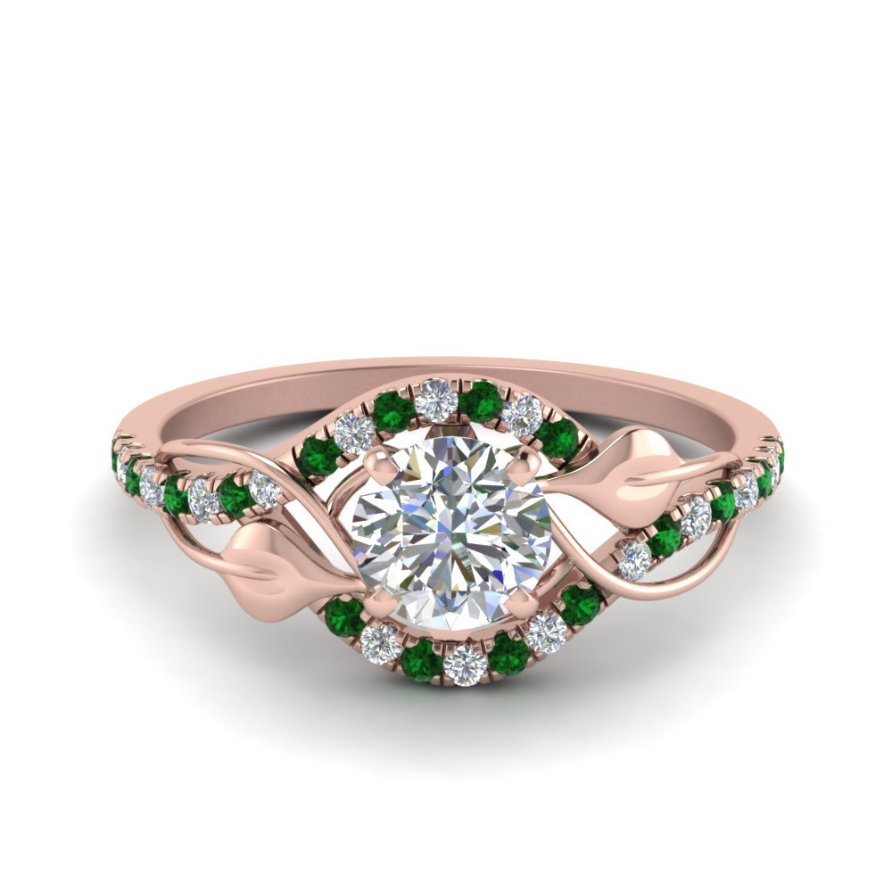 Leaf Style Emerald Wedding Ring