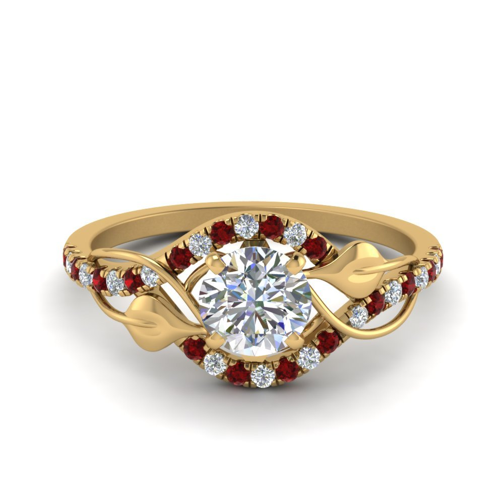 Ruby Halo Twisted Engagement Ring