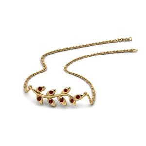 Leaf Ruby Necklace