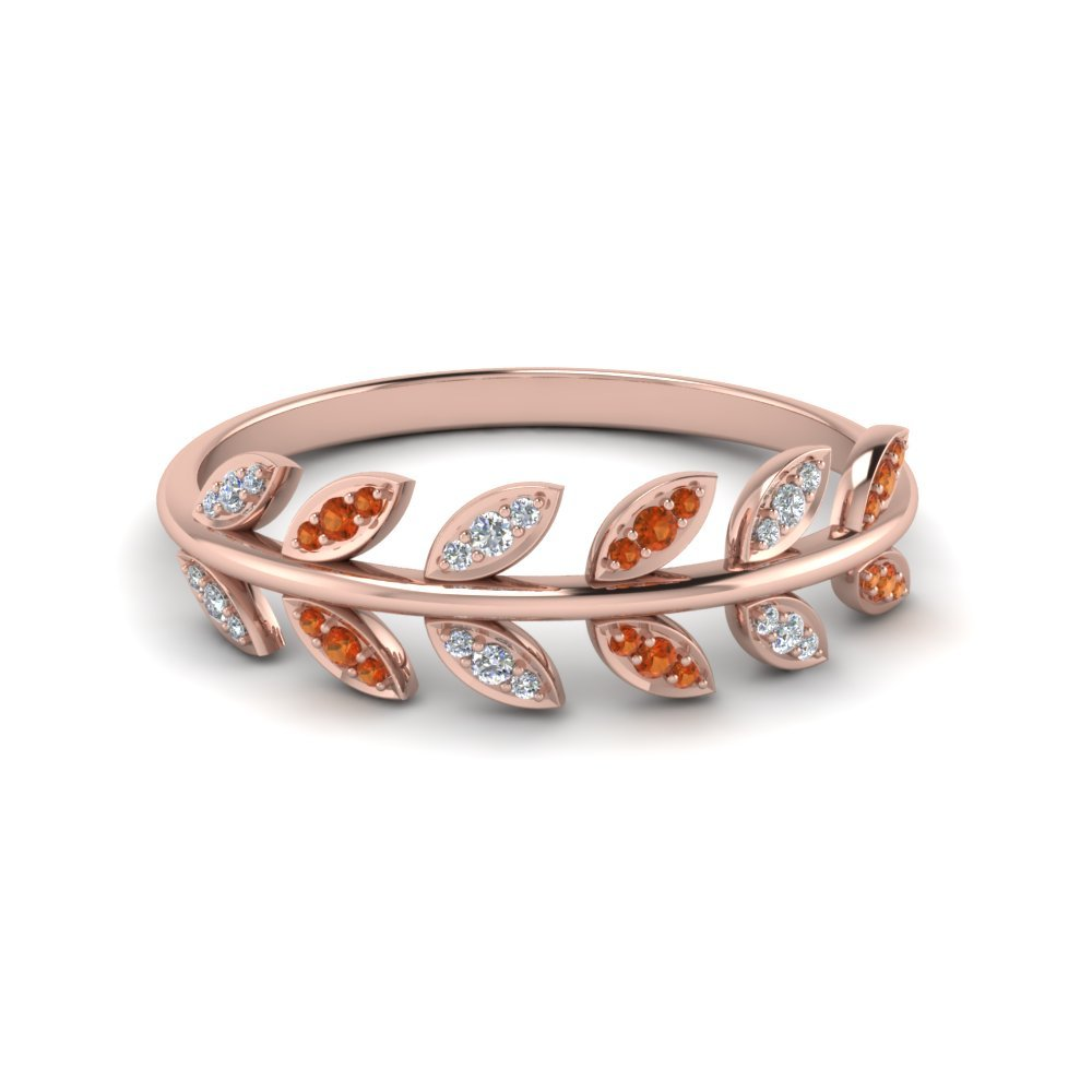 Leaf Pattern Wedding Diamond Band With Orange Sapphire In 14K Rose Gold