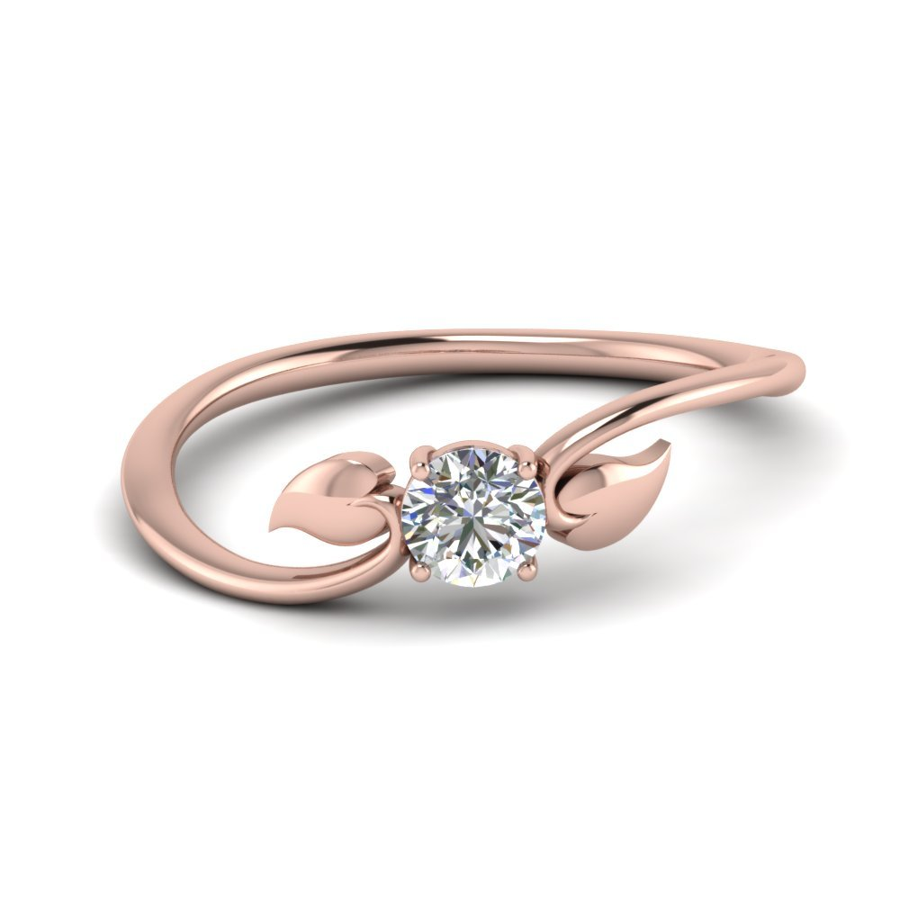 Leaf Solitaire Diamond Wedding Ring In 14K Rose Gold