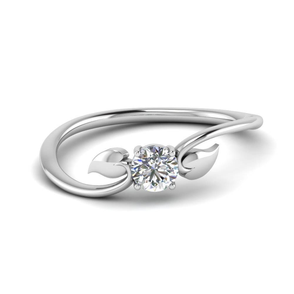 Leaf Solitaire Diamond Wedding Ring