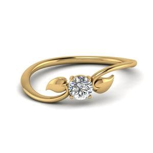 Leaf Solitaire Diamond Wedding Ring In 14K Yellow Gold