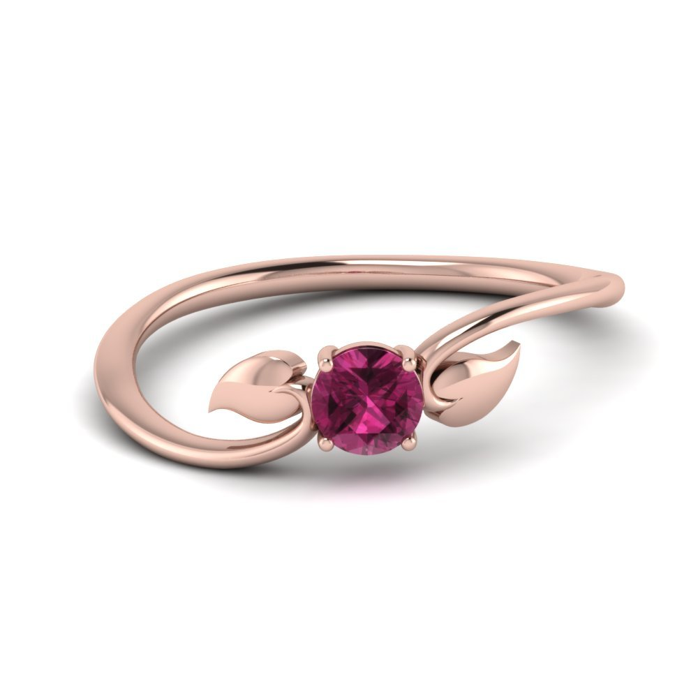 Leaf Solitaire Pink Sapphire Wedding Ring