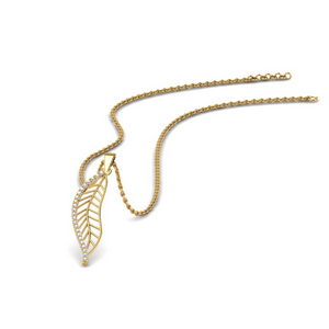 Leafy Diamond Pendant In 14K Yellow Gold