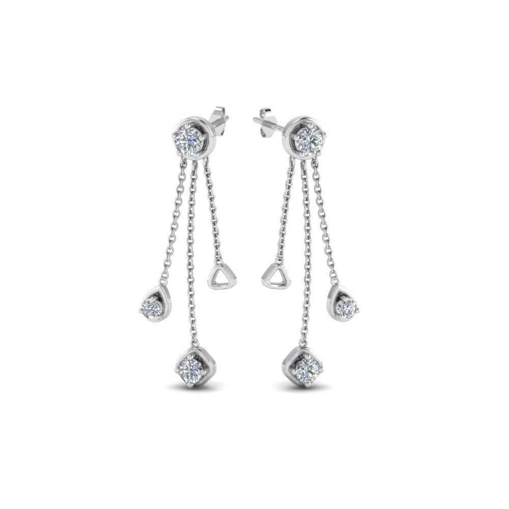 Long Chain Drop Earring In 18K White Gold