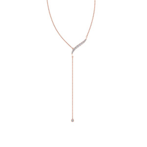 Long Chain Drop Pendant In 14K Rose Gold