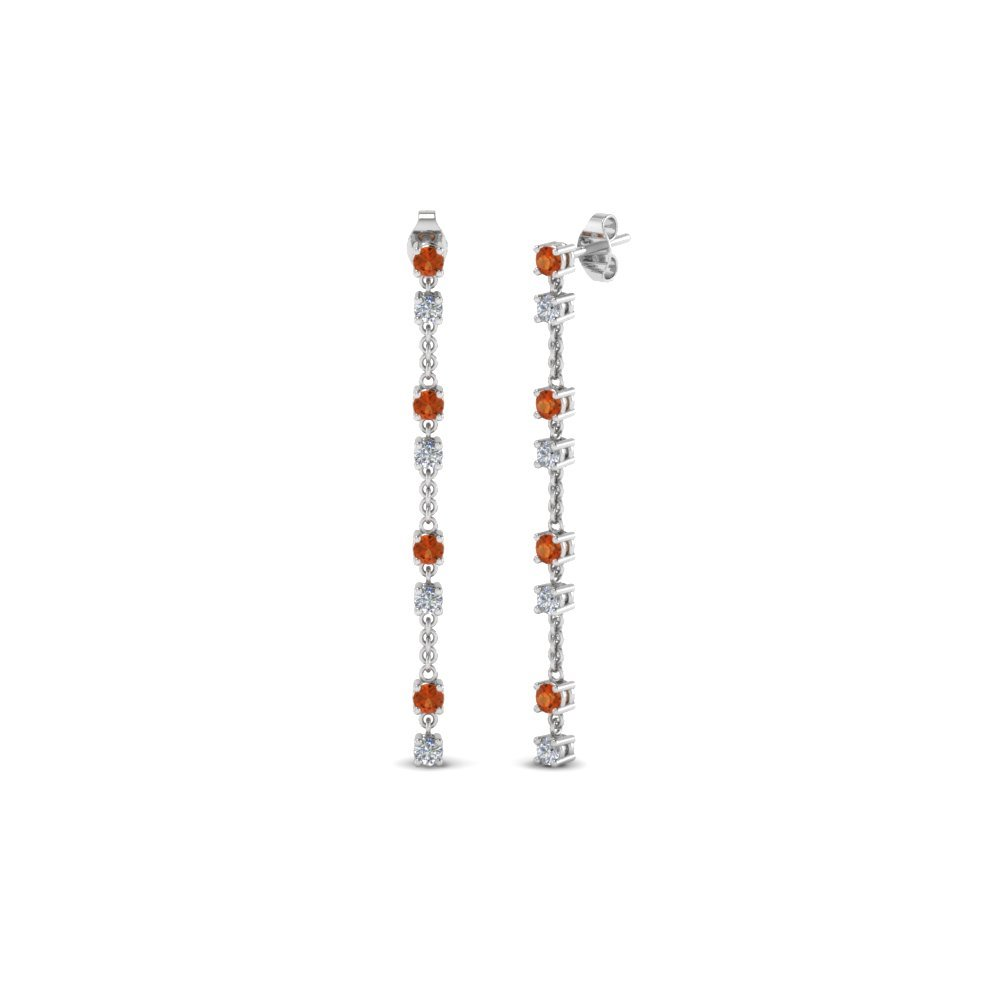Long Hanging Diamond Drop Earring With Orange Sapphire In 14K White Gold