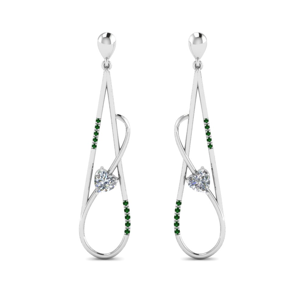 Emerald Long Open Stud Earring