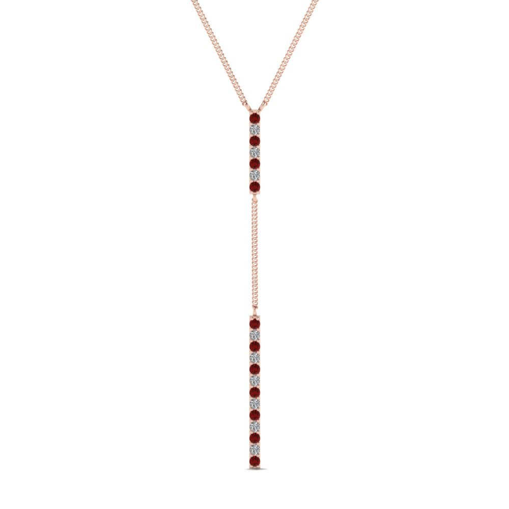 Long Straight Bar Hanging Ruby Pendant