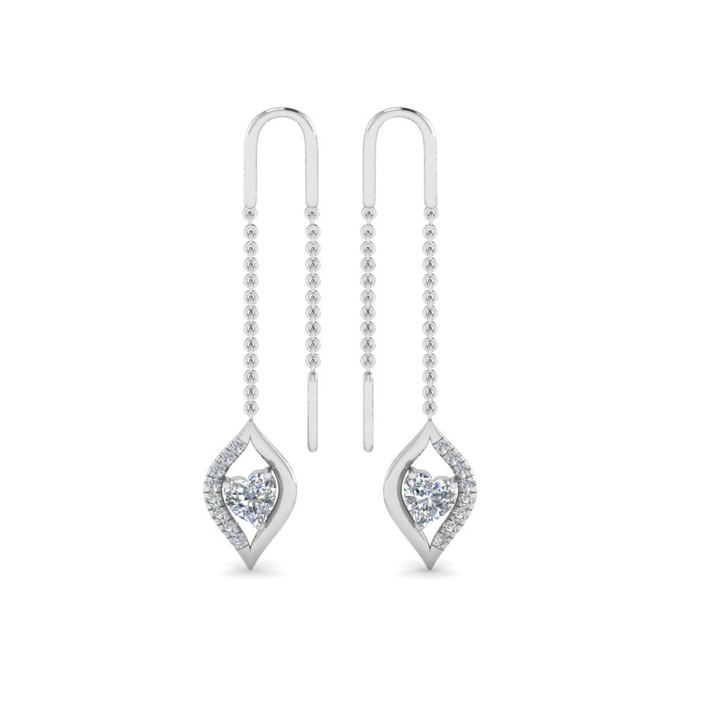 Long Threader Heart Diamond Earring In 14K White Gold