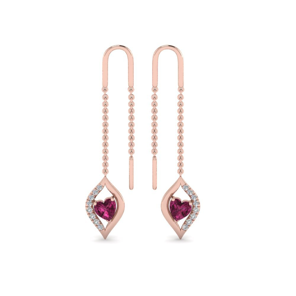 Long Threader Pink Sapphire Heart Earring