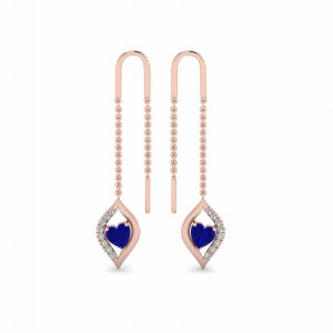 Long Threader Heart Diamond Earring