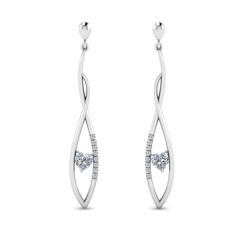 Long Twist Stud Drop Diamond Earring In 14K White Gold