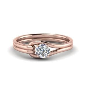 Loop Interlocked Solitaire Diamond Engagement Ring In 14K Rose Gold